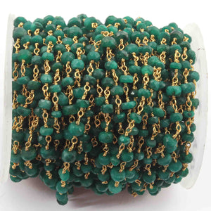 1 Feet Emerald Rondelle Rosary Style 925 Sterling Vermeil Beaded Chain- 3mm-5mm- Emerald Rosary Chain SRC016 - Tucson Beads