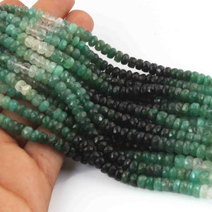 1 Strand Shaded Emerald Faceted Rondelles- Emerald Roundle Beads 4mm 15 Inch Long RB0121 - Tucson Beads