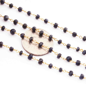1 Feet Blue Sapphire Rondelle Rosary Style 925 Sterling Vermeil Beaded Chain- 3mm-5mm- Vermeil wire Chain SRC018 - Tucson Beads
