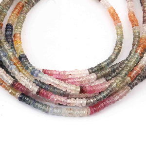1 Strand Multi Sapphire Faceted Rondelles  -Round Shape  Rondelles  3mm  -15 Inches BR4059 - Tucson Beads