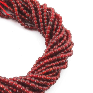 1 Strand Garnet Faceted Rondelles - Garnet Round Beads 3mm-4mm 14.5 Inches BR4115 - Tucson Beads