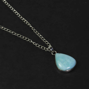1 Pc Genuine and Rare Larimar Pear Pendant - 925 Sterling Silver - Gemstone Pendant  SJ088 - Tucson Beads