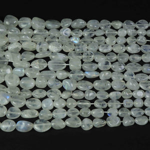 1 Strand Finest quality White Rainbow Moonstone Smooth Assorted Briolettes- Faceted Assorted Beads 6mmx6mm-18mmx10mm 18 Inch BR1644 - Tucson Beads