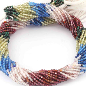 5 Long Strands Mix Stone Rondelles Faceted Beads -Multi Stone Beads 2mm 13 inches RB446 - Tucson Beads