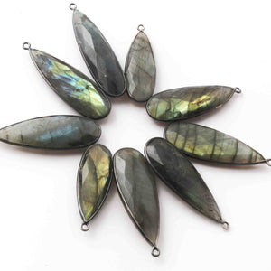 13 Pcs Labradorite Faceted Oxidized Silver Pear Pendant 39mmx13mm-44mmx12mm SS871 - Tucson Beads