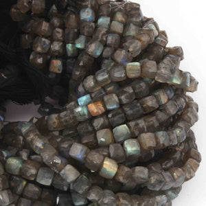 1 Strand Labradorite Faceted Cube Briolettes- Labradorite Box Shape  5mmx6mm 10 Inches BR3387 - Tucson Beads