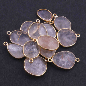 13 Pcs Golden Rutile Assorted Shape 24k Gold Plated Pendant & Connecter,- 21mmx15mm PC340 - Tucson Beads