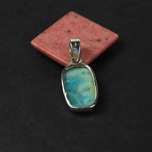 1 Pc Genuine and Rare Larimar Pear Pendant - 925 Sterling Silver - Gemstone Pendant  SJ072 - Tucson Beads