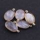5  Pcs Golden Rutile Oval Shape 24k Gold Plated Pendant & Connecter,- 22mmx14mm PC336 - Tucson Beads
