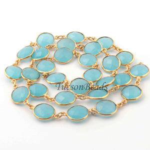 2 Feet Blue Aqua Chalcedony Round Shape  Gold Plated Bezel Continuous Connector Beaded Chain 20mmx13mm SC229 - Tucson Beads