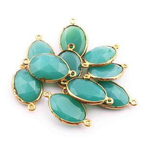 10  Pcs Chrysocolla Oval Shape 24k Gold Plated Connecter,- 26mmx14mm PC327 - Tucson Beads