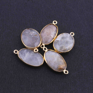 5  Pcs Golden Rutile Oval Shape 24k Gold Plated Pendant & Connecter,- 22mmx14mm PC338 - Tucson Beads
