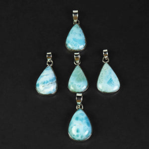 1 Pc Genuine and Rare Larimar Pear Pendant - 925 Sterling Silver - Gemstone Pendant  SJ064 - Tucson Beads