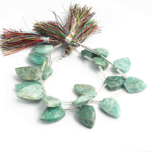 1 Long Strand Amazonite Faceted Fancy Shape Briolettes  - Faceted Briolettes  21mmx13mm-22mmx15mm 9 Inches BR750 - Tucson Beads