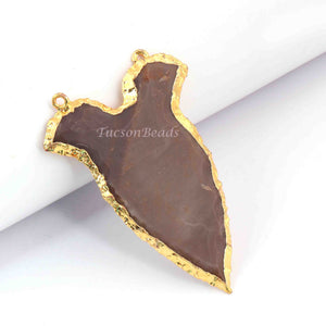 8 PCS Jasper Arrowhead  24k Gold  Plated Charm Double Bail Pendant-Electroplated With Gold Edge - 65mmX27mm-61mmX25mm  AR102 - Tucson Beads