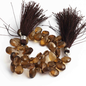 1 Strand Smoky Quartz Faceted Tear drop Beads Briolettes - Smoky Quartz Briolettes 7mmx4mm 8 Inches BR766 - Tucson Beads