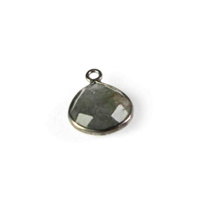 13 Pcs Labradorite Faceted Oxidized  sterling Silver Heart Shape Connector/Pendant 14mmx11mm- SS646 - Tucson Beads