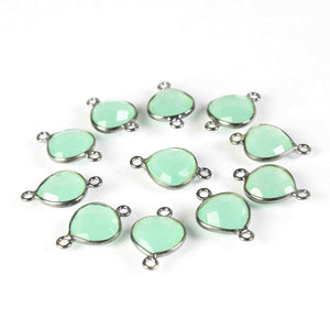 18  Pcs  Aqua Chalcedony Faceted Oxidized  sterling Silver Heart Shape Connector 17mmx11mm- SS657 - Tucson Beads