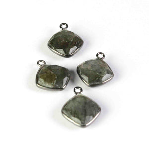 6 Pcs Labradorite Oxidized Sterling Silver Faceted Cushion Shape Pendant- 14mmx11mm SS700 - Tucson Beads