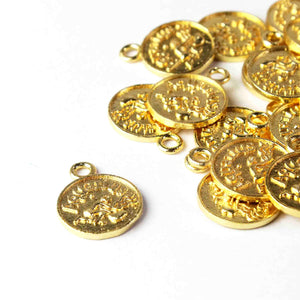 10 Pcs Zodiac Sign Charm Pendant,  Scorpio and Sagittarius Charm ,Astrology Jewelry- 24k Gold Plated Round Copper 18mmx14mm GPC003 - Tucson Beads
