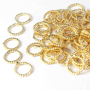 20 Pcs 24k Gold Plated Copper Ring Charms, Round Charm, Copper Ring, Casting Ring, Jewelry Making Tools, 6mm , GPC253 - Tucson Beads