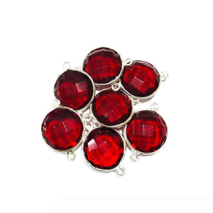 7 Pcs Red Hydro Faceted Round 925 Sterling Silver Connector - Red Hydro Connector 21mmx10mm SS052 - Tucson Beads