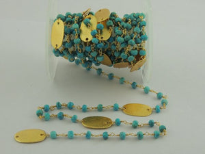 3 Feet Turquoise with Brushed Oval Charms 24k Gold Plated Rosary Beaded Chain - Turquoise Beaded Chain BD-161 - Tucson Beads