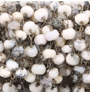 5 Feet Dendrite Opal Rosary Style Beaded Chain 2mm-3mm, Black Wire Wrapped Chain- Dendrite Opal Rosary Chain Bdb069 - Tucson Beads