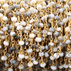 5 feet Dendrite Opal 3-4mm Rosary Style Beaded Chain -Opal Beads Wire Wrapped 24k Gold Plated Chain BDG035 - Tucson Beads