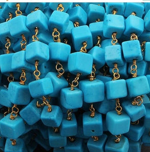 1 Feet TURQUOISE Rosary Style Beaded Chain - Turquoise Smooth Cube Beads wire wrapped 24k Gold Plated Beaded Chain 5mm-6mm Bd-476 - Tucson Beads