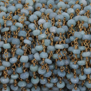 5 FEETS Blue Opal Rosary Style Beaded Chain - Bolder opal Faceted Rondelle Beads Wire Wrapped 24k Gold Plated Chain 5mm BD659 - Tucson Beads