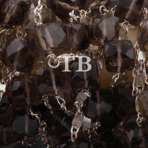 2 Feet Smoky Quartz faceted Cubes Beaded Chain - Smoky Quartz Cubes wire wrapped 925 Silver Plated Chain Bds032 - Tucson Beads