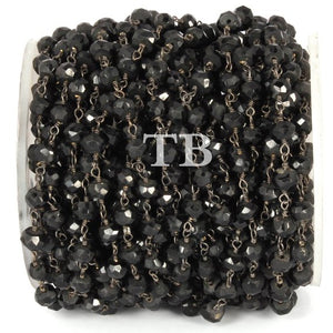 5 Feet Black onyx Rondelles Rosary Style Beaded Chain 4-5 mm, Black Wire Wrapped Chain- Big stone Rosary Chain Bdb004 - Tucson Beads