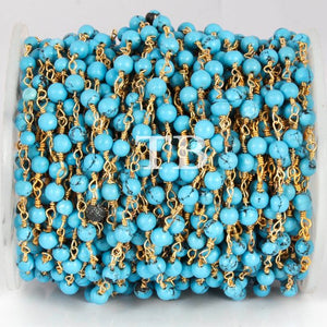 10 Feets Matrix Turquoise Smooth Rosary Style Beaded Chain - Wire Wrapped 24k Gold Plated Chain 3.5mm-4mm BDG018 - Tucson Beads