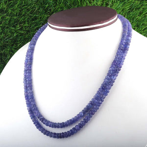 2 Strands Of Genuine Tenzanite Necklace - Faceted Rondelle Beads - Rare & Natural Sapphire Necklace - Stunning Elegant Necklace - BR2094 - Tucson Beads