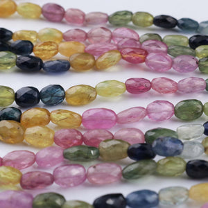495ct. 7 Strands Of Genuine Multi Sapphire Necklace - Faceted Oval Beads - Rare & Natural Necklace - Stunning Elegant Necklace BR2295 - Tucson Beads
