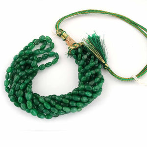 420ct.5 Strand Dyed Emerald Smooth Oval Shape Necklace , Dyed Emerald Smooth Oval Beads, Emerald Necklace - BR2301 - Tucson Beads