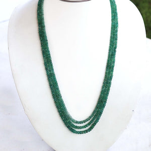 3 Strands Of Genuine Emerald Necklace - Faceted Rondelle Beads - Rare & Natural Necklace - Stunning Elegant Necklace - BRU104 - Tucson Beads