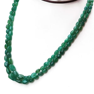220ct. 2 Strands Dyed Emerald Smooth Oval Shape Necklace , Dyed Emerald Smooth Oval Beads, Emerald Necklace - BRU2344 - Tucson Beads