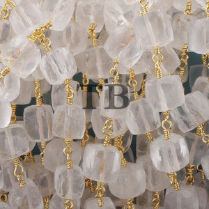 5 Feet Crystal Quartz Faceted Cube Beaded Chain - Crystal Quartz Cube Gold wire wrapped 24k Gold plated Gemstone Rosary Chain BSC028 - Tucson Beads
