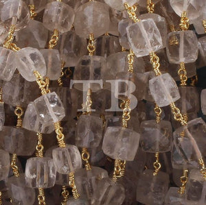 5 Feet Golden Rutile Cube 24k Gold Plated Wire Wrapped Rosary Style Beaded Chain 6mm-9mm Chain By foot BSC029 - Tucson Beads