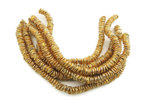 5 Strands AAA Quality Wave Disc Beads 24K Gold Plated on Copper - Potato Chips Beads 6mm 7Inch Strand GPC452 - Tucson Beads