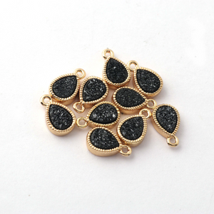 10 Pcs Mystic Druzy Pear Drop Pendant, 24k Gold Plated, Titanium Pendant, Bezel Pendant 11mmX6mm PC628 - Tucson Beads