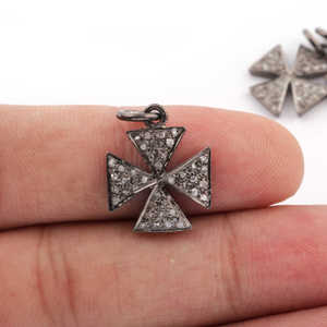 1 PC Pave Diamond Antique Finish Cross Charm  925 sterling Silver Pendant - 18mmx14mm PDC445 - Tucson Beads
