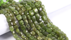 1 Strand Vesuvianite Faceted Center Drill Cube Beads Briolettes - Vessonite Box Shape Beads 6mmx6mm-10mmx9mm 8.5 Inch BR4142 - Tucson Beads