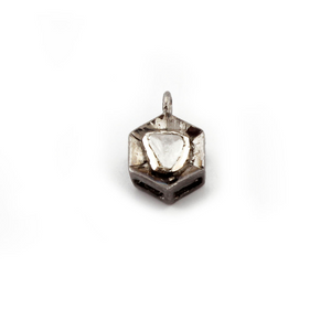 1 Pc Rose Cut Diamond Hexagon Charm 925 Sterling Silver/ Vermeil Pendant Connector - Hexagon Charm Connector 10mmx7mm-12mmx7mm Pdc486 - Tucson Beads