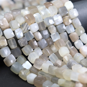 1 Strand Multi Moonstone Faceted Cube Briolettes - Multi Moonstone Box Shape Beads 7mmx6mm-10mmx9mm 8.5 inches BR996 - Tucson Beads