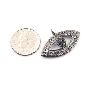 1 Piece Natural White Topaz  Eye Charm Pendant 925 Sterling Vermeil /Sterling Silver 28mmx17mm WTC015 - Tucson Beads
