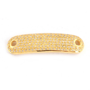 1 Pc Pave Diamond Yellow Gold Vermeil Rounded Rectangle Connector - Diamond Charm Connector 38mmx10mm PDC782 - Tucson Beads