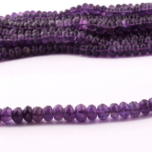 1 Strand Amethyst Faceted Rondelle  - Amethyst Rondelle Beads 4mm-6mm 8 Inches BR3958 - Tucson Beads